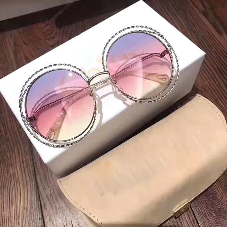 2020 Vintage Round Big Size Oversized lens Gradient Sunglasses Women Luxury Brand Designer Metal Frame Lady Sun Glasses with box