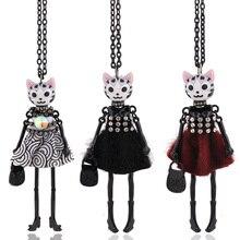 Chenlege 2019 longs colliers nouveaux pendentifs pour femmes gros chokers fille mode bijoux mignon chat collier animal dame longues chaînes