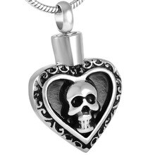IJD8541 hommes Punk accessoires personnalisé crâne coeur crémation pendentif bijoux funéraire souvenir mémorial médaillon charme