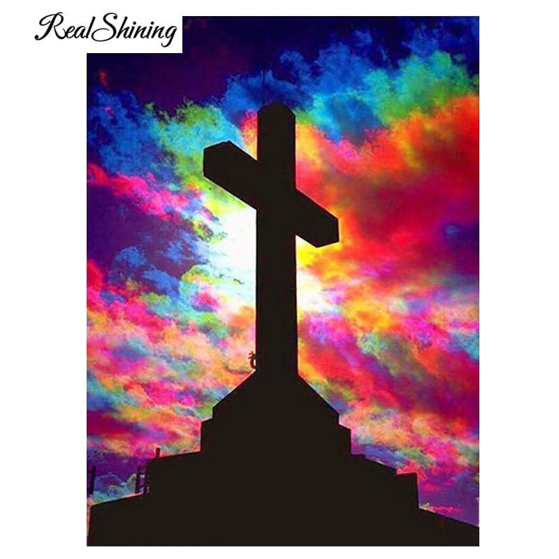5d Diy квадратная/круглая Алмазная картина, вышивка крестиком, мозаика, полностью 100% Красочные облака, религиозная вышивка крестом, алмазная в...