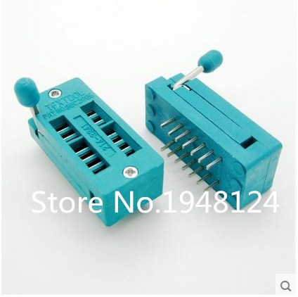 10 unids/lote prueba ZIF universal Socket 14pin 14 pin dip 2,54mm Socket IC paso