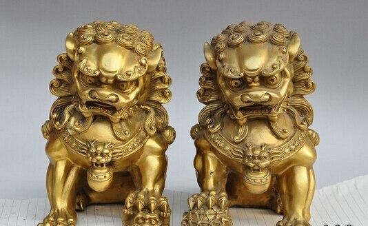 "Artesanía de cobre 9 ""latón puro talismán cobre feng-shui tradicional pie fu perro León guardián escultura estatua un par"