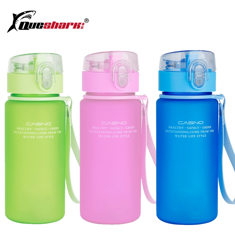 Queshark Sport Water Bottle for Running Bag Camping Hiking Drink Bottle for water 350-400ml Tritan Plastic Drinkware BPA Free