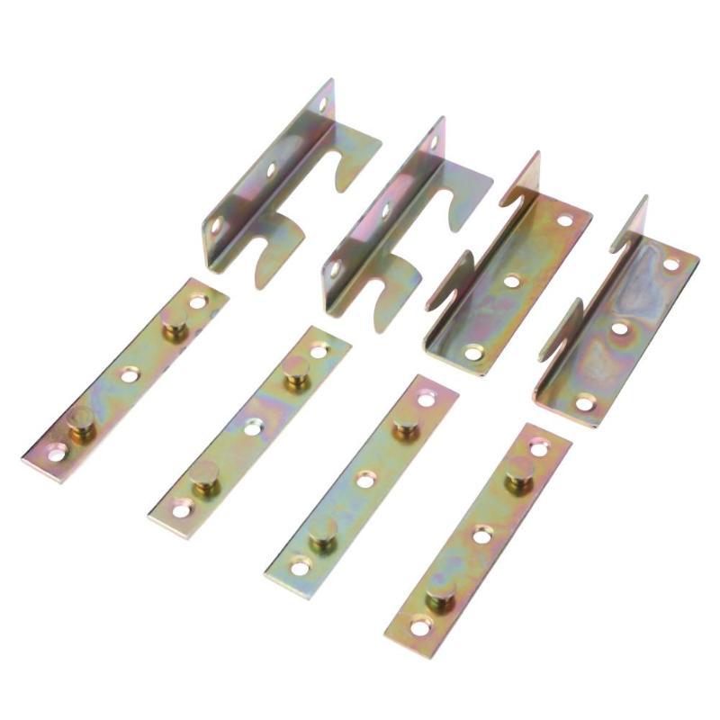 8 Uds muebles de hierro accesorios para camas de madera conectores soportes de Unión gancho de bastidor reemplazo soporte de carril ferretería