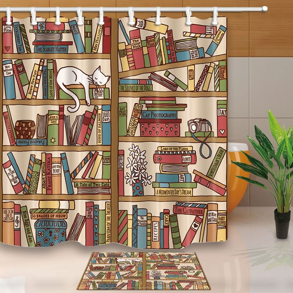Cortinas de ducha de dibujos animados, colorido estante para libros, cámara de gato, impermeable, tela de poliéster, cortina, conjunto de suelo, felpudo, alfombras de baño