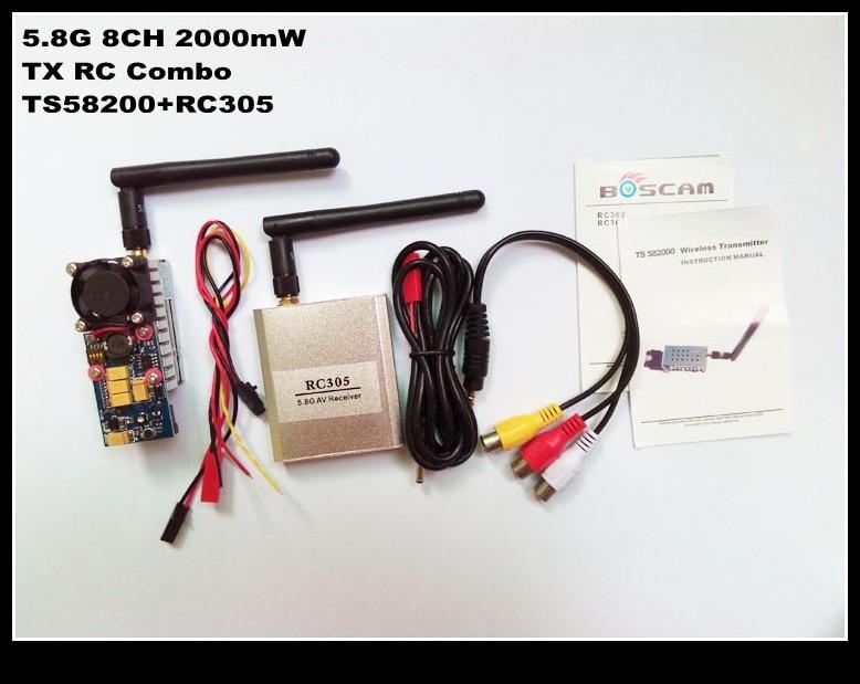 100% original Boscam 5,8G 2 W 2000 mW 8 canales de Audio inalámbrico Video AV Transmisor TS582000 y receptor RC305 combo