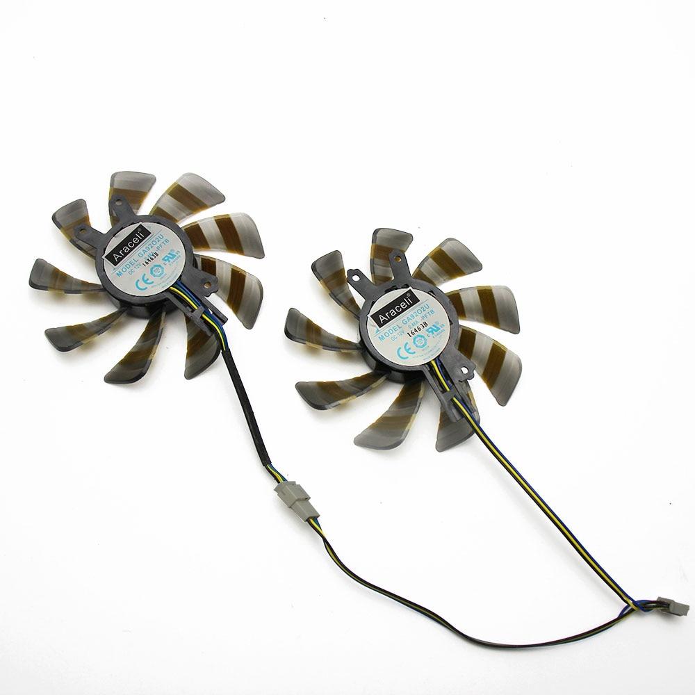 2pcs/set GEFORCE GTX950 GPU Cooler Cooling Fan GA92O2U For KFA2 GALAX GEFORCE GTX 950 Black OC Sniper Cards Cooling Fan enlarge