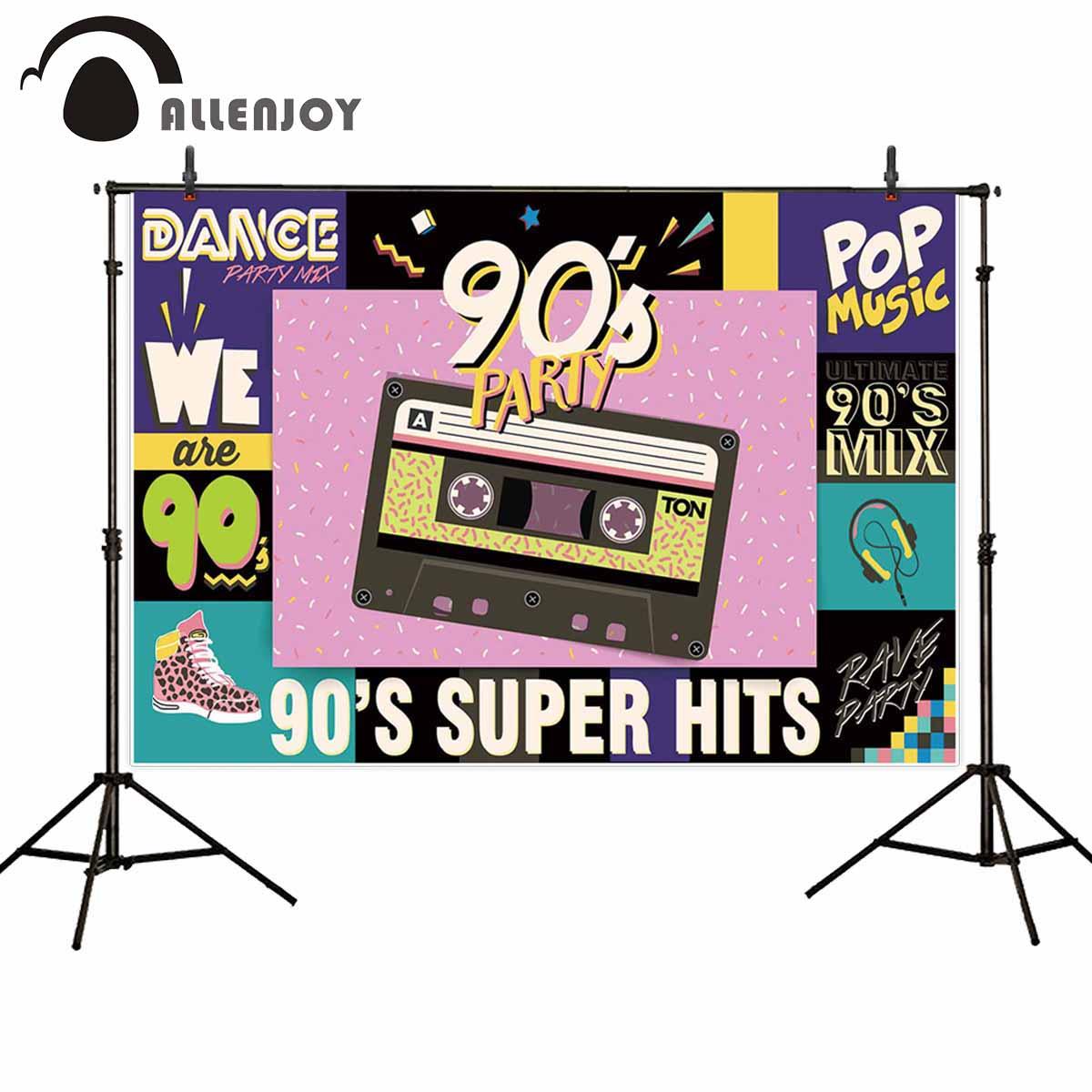 Allenjoy fotográfico Fondo 90s vintage hip hop pop rock música baile Fondo foto disparar photocall photobooth prop de