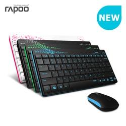 Impermeável original rapoo x220 2.4g multi-media mini teclado sem fio e mouse combo para pc mac laptops desktops gamer