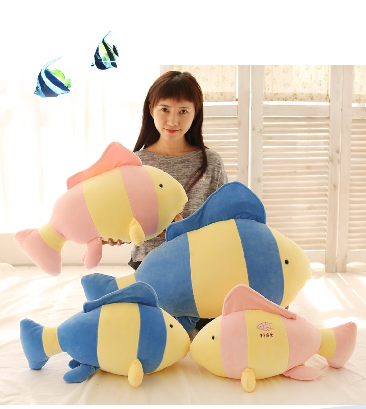 Almohada con pez Tropical de 80 cm, almohada con pez payaso, juguete de peluche, regalo de cumpleaños
