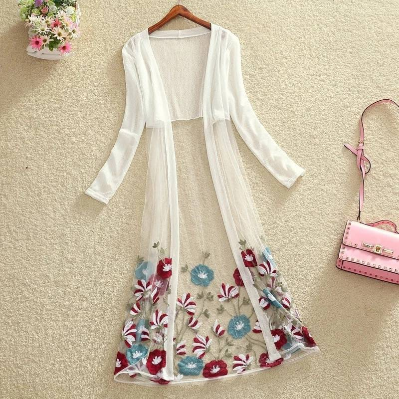 Rebeca de verano 2020, blusa bordada, Rebeca larga de talla grande, Rebeca de mujer, Kimono, camisa blanca, manga larga Boho transparente