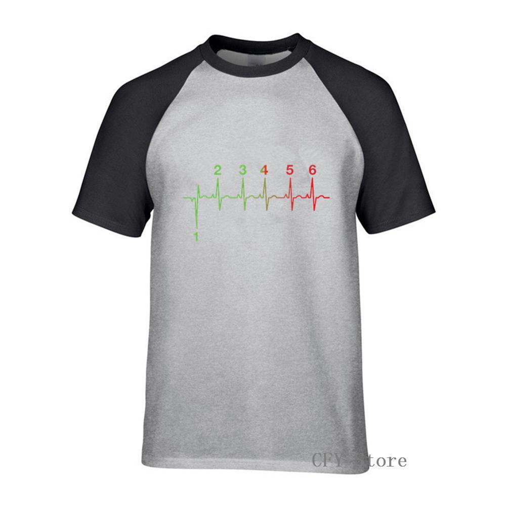 T-Shirts drôles moto battement de coeur changement de vitesse ligne de vie moto vitesse 1N23456 coton T-Shirts col rond hommes T-Shirts