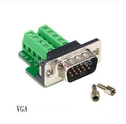 Free shipping  2sets Serial port with nuts/DB15/VGA/ plug /3ROWS 15 pin /  terminal /COM port /485 male / female