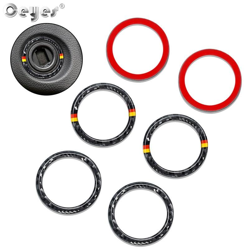 Ceyes, anillo de arranque de motor de coche, parada de Estilo de fibra de carbono, apto para Mercedes Benz C E clase W213 GLC W205, accesorios adhesivos