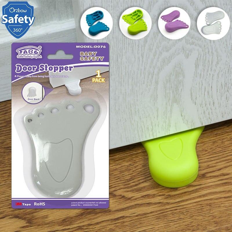 1 Uds. Tope de puerta de seguridad para niños con forma de pie, bloqueo de puerta de protección para bebés y niños para evitar lesiones en los dedos del pie, productos de seguridad para niños