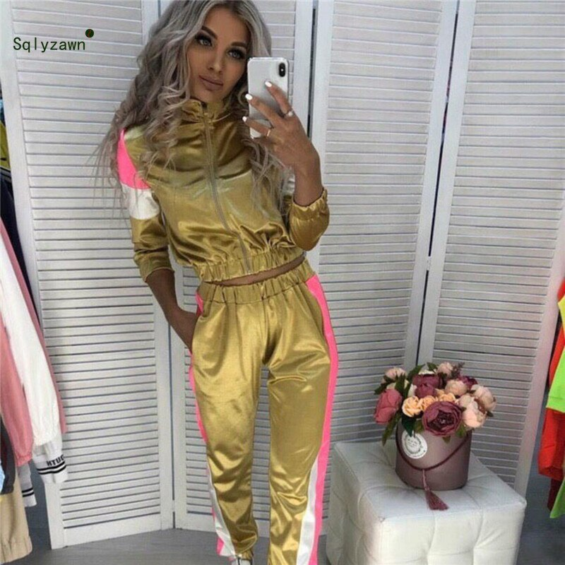 Women Streetwear Sportwear 2 Piece Set Stripe Patchwork Long Sleeve Jacket Top + Jogger Pants Matching Satin Sweatsuit Outfits