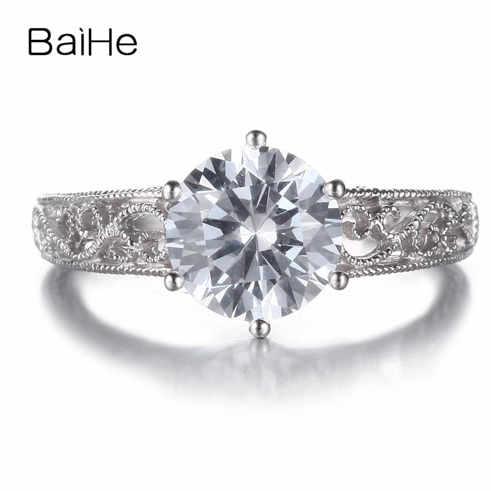 BAIHE sólido 10K oro blanco 1.6ct AAA clasificación Zirconia cúbica anillo de compromiso mujeres delicado de moda joyería regalo Zirconia cúbica anillo