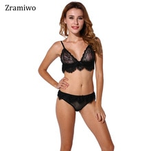 Soutien-gorge dentelle ensemble de slips noir Bralette transparente maille culotte Sexy brassière Sexy sous-vêtements