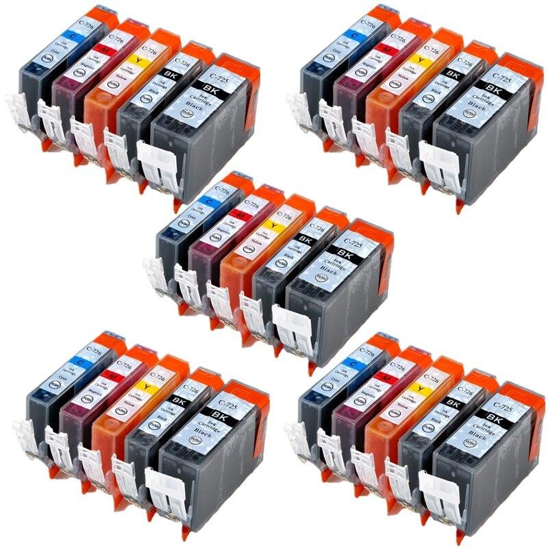 Conjunto 5 PGI725 CLI726 cartucho de tinta Para canon PIXMA IP4870 IP4970 IX6560 MG5170 MG5270 MG5370 MX717 MX887 MX897 impressora