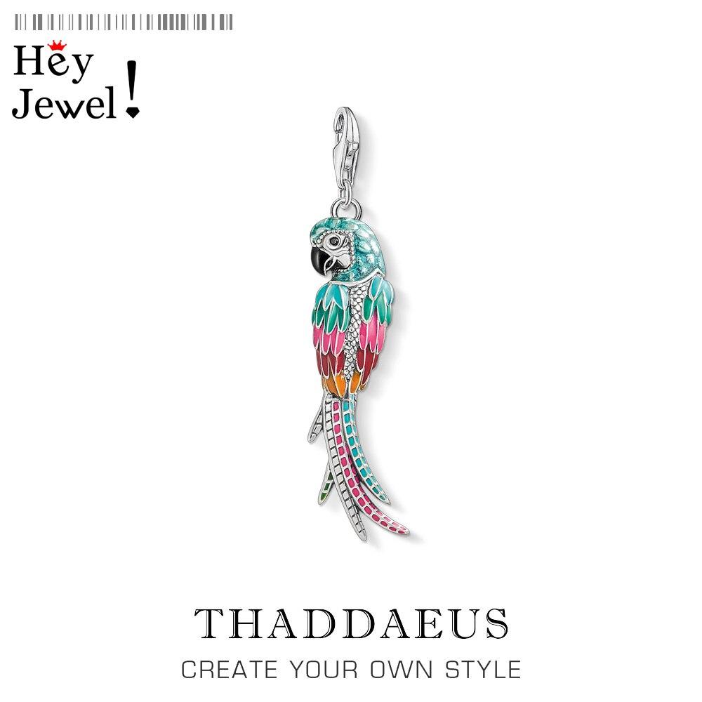 Женский и мужской браслет из стерлингового серебра 925 пробы с разноцветным кулоном попугая, модное ювелирное изделие, лето 2019