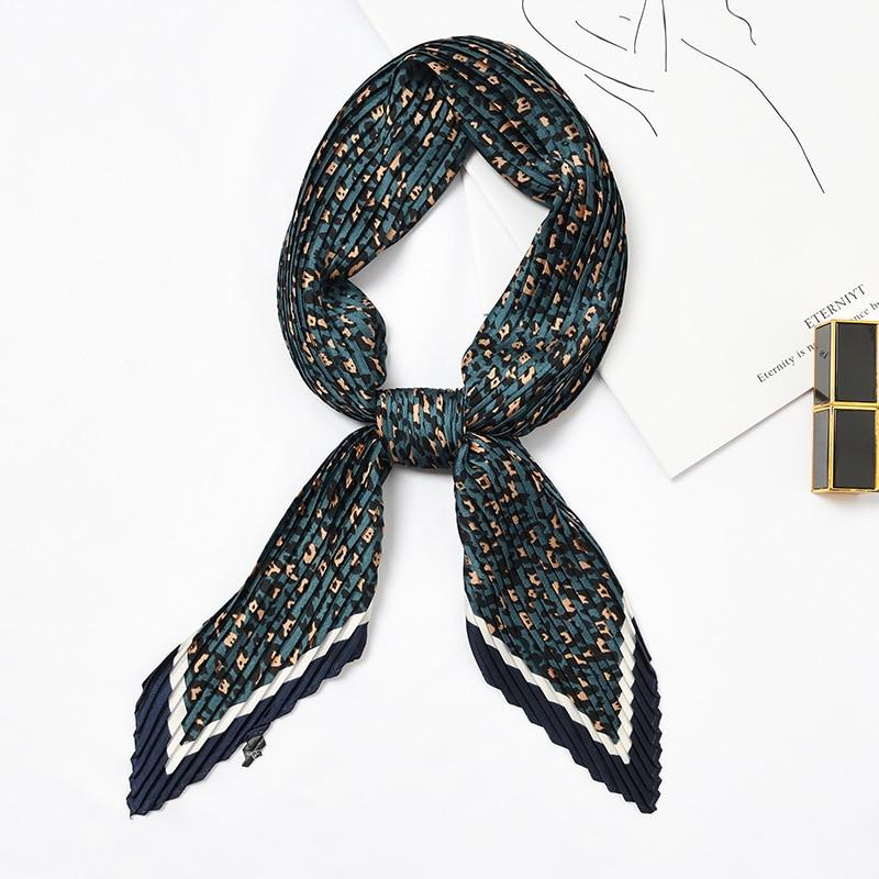 Silk Small Bandana Women Pleated Scarf Leopard Square Foulard Small Scarf Crumple Silky Print Headband