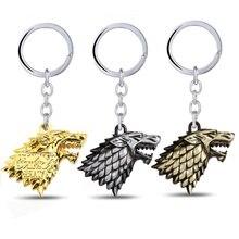 Game of thrones porte-clés maison Stark porte-clés chanson de glace et de feu porte-clés titulaire Souvenir pour cadeau Chaveiro hommes bijoux