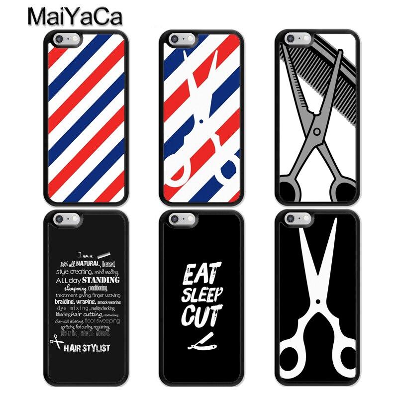 MaiYaCa Barbero rayas tijeras caso para iphone 11 Pro MAX X XR XS MAX SE 2020 6 7 8 Plus 5S cubierta Fundas
