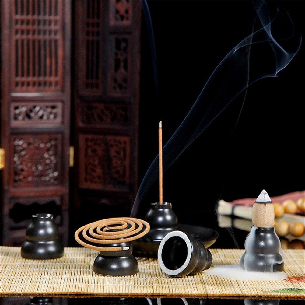 1pc multi-funcional estilo calabash china cerâmica queimador de incenso cone & moeda suporte de incenso para decoração de casa & ornamento