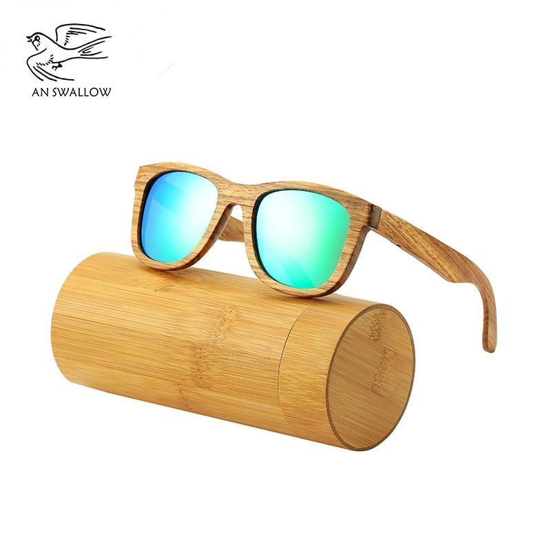 AN SWALLOW-Gafas De Sol polarizadas De madera De cebra para hombre, lentes...