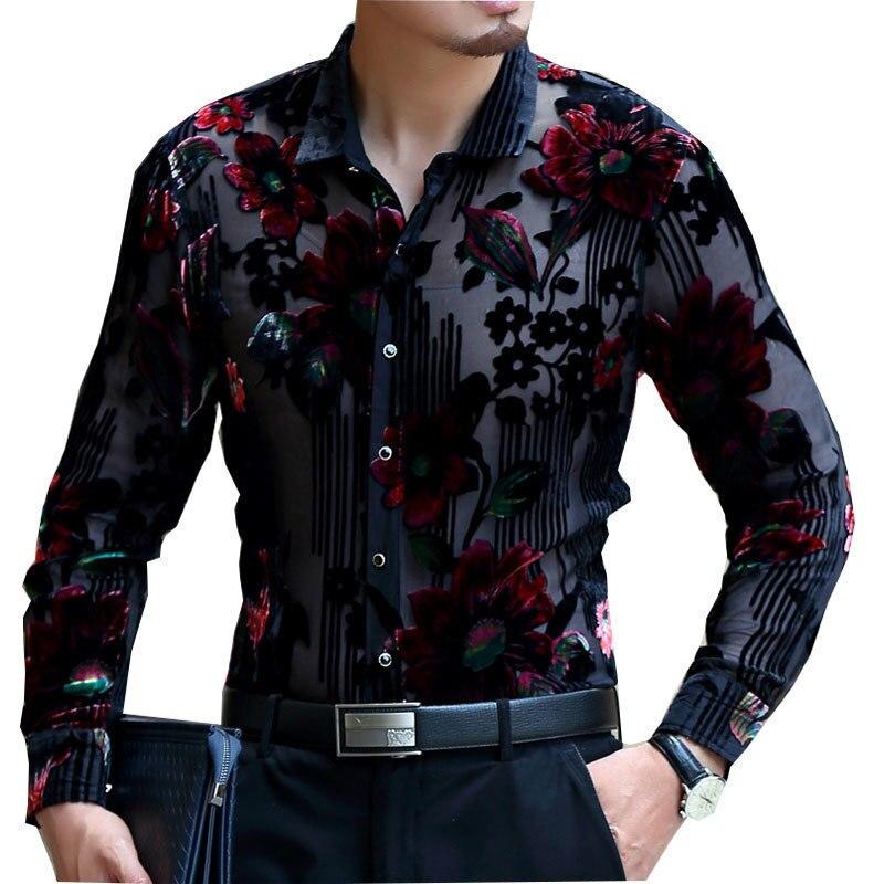 Frolal terciopelo boda matrimonio 2019 Chemise Homme 4xl camisa de encaje Club fiesta Prom Sexy hombre camisa de lujo transparente para hombres