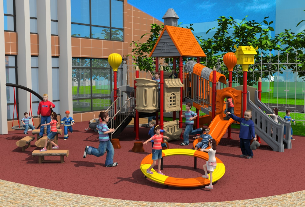 YLW-OUT171072 de tobogán de parque de juegos de plástico para exteriores exportado estándar