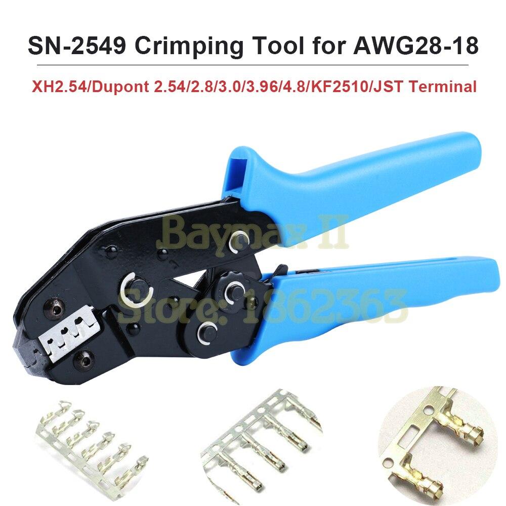 CNLX SN-2549 أدوات تجعيد ل AWG28-18 (0.08-1.0 mm2) XH2.54/دوبونت 2.54/2.8/3.0/3.96/4.8/KF2510/JST محطة المكشكش ذو طيات