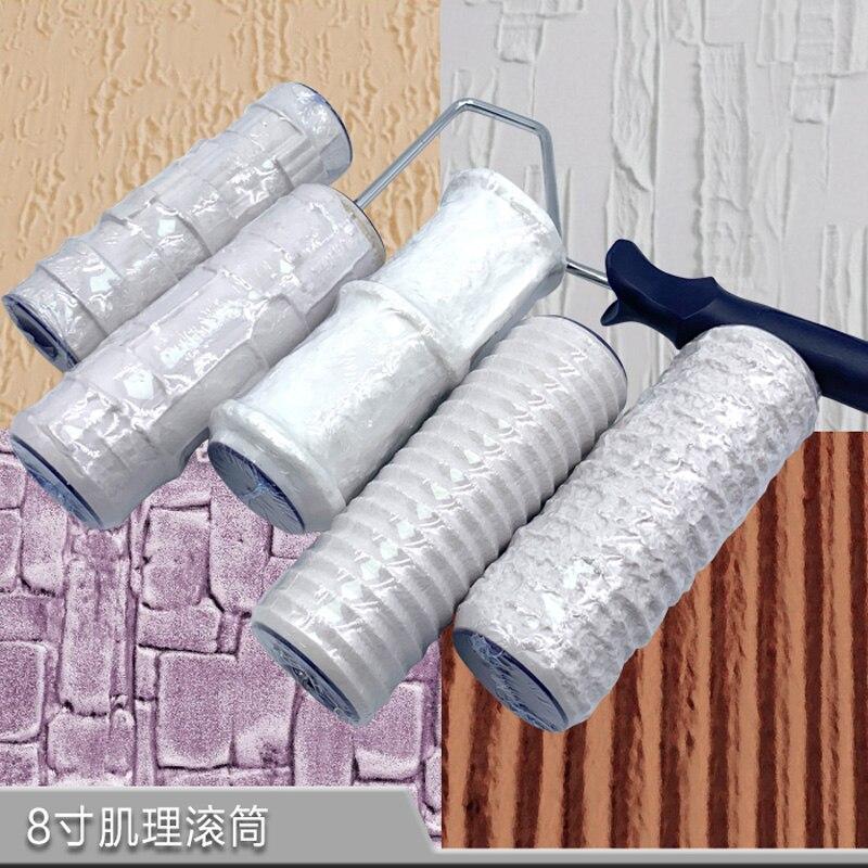 1pc Patterned Paint Roller 8 Inch Decorative Tool Wall Painting Ink Roller Imitate Stone Draw Rubber DIY Construction Tools