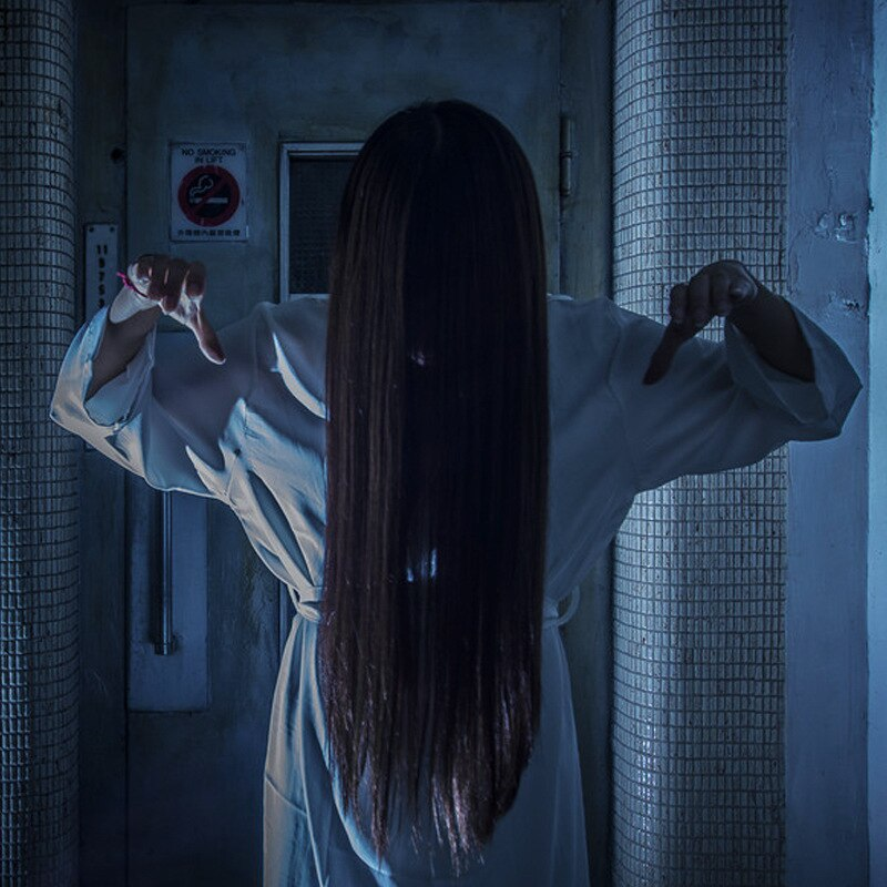 Disfraces de Halloween de Cosplay Horrible Sadako Cosplay negro largo recto pelo 80cm largo fantasma Banshee Disguisement para carnaval