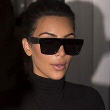 Fashion Vintage Brand Designer Lady Big Square Sunglasses Women Rivet Eyewear Flat Top Black Sun Gla