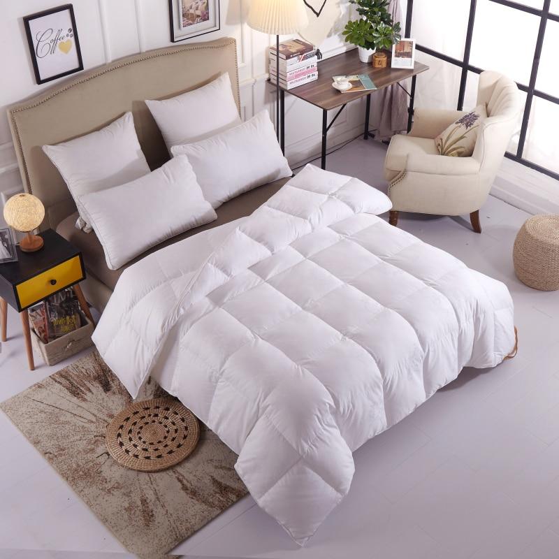 لحاف من ريش الإوز 95% ، طقم سرير بحجم كينغ أو كوين ، ديكور غرفة نوم فاخر ناعم ، مدفئ وسميك ، هدية للأطفال والكبار