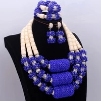 dudo royal blue milk jewellery crystal nigerian african wedding jewelry set beads for bride women free shipping 2018 trendy new