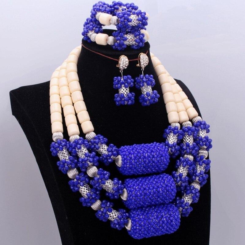 Dudo royal azul leite jóias de cristal nigeriano africano conjunto de jóias de casamento contas para a noiva frete grátis 2018 novo na moda