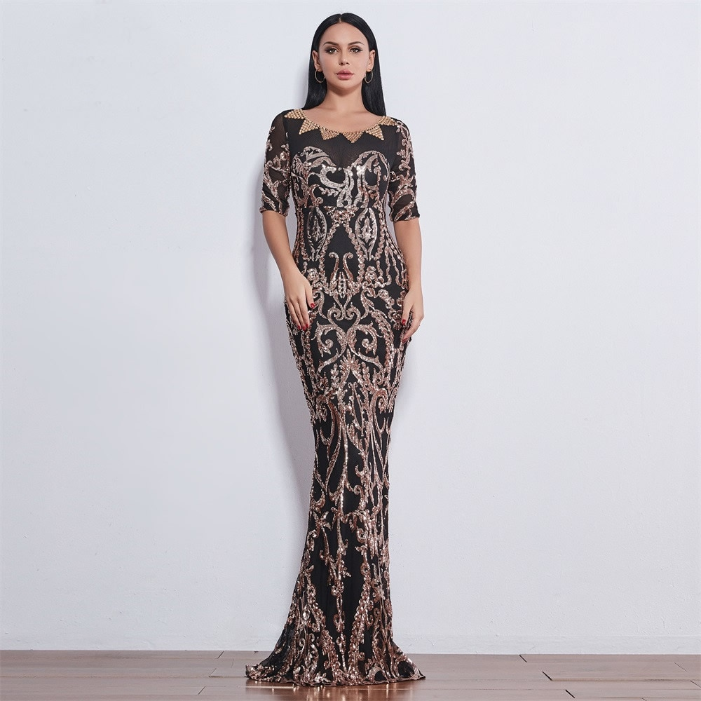 Slim Floor-Length woman Dress 2019 Wedding Evenging Party Elegant Floor Long Dress Floral Ladies Mer