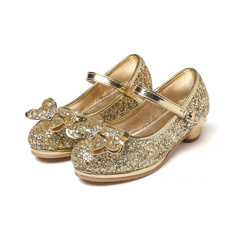 MSMAX Girls Princess Cosplay Performance Shoes niños Crystal tacones altos brillos damas de honor Mary Jane lentejuelas sandalias