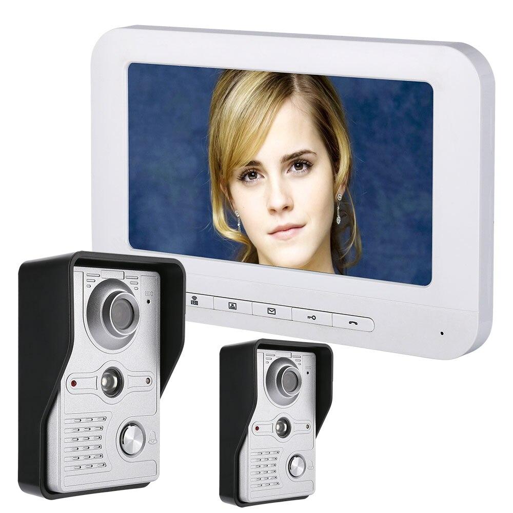 MOUNTAINONE 7 Inch LCD Video Door Phone Doorbell Intercom Kit 2-camera 1-monitor Night Vision with IR-CUT HD 700TVL Camera
