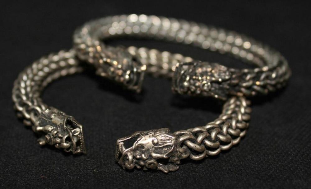 2 piezas China antiguo Guizhou Miao plata hecha a mano bestia malvada pulsera brazalete par