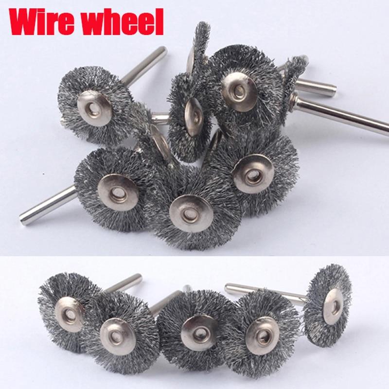 10 pcs Escova Roda de Arame de Aço ferramentas dremel acessórios para ferramenta rotary para mini broca conjunto cabeça rebarba rebarbação ferramentas elétrica