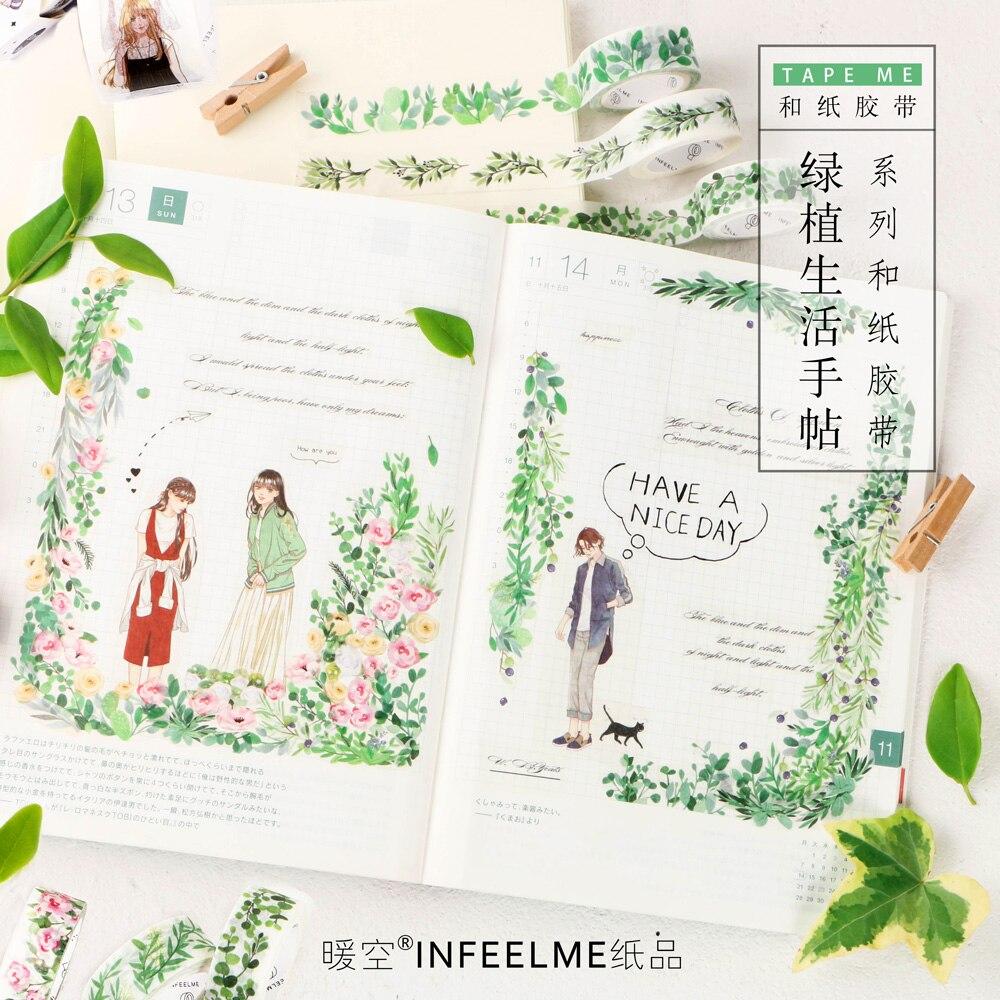 20 pçs/lote Infeel. Me plantas pequenas plantas frescas rolo decoração adesivos fita adesiva fita adesiva washi