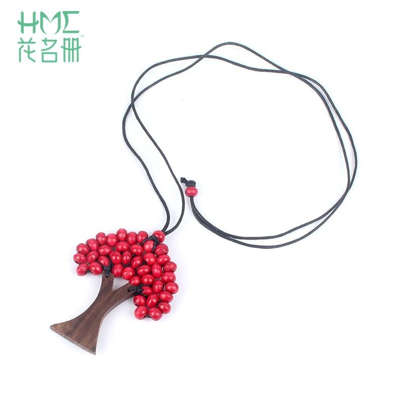 Colgantes y collares de estilo bohemio, 1 Uds., cuentas de madera de árbol de la vida, colgante hecho a mano, cadena de cuerda, collar de joyería