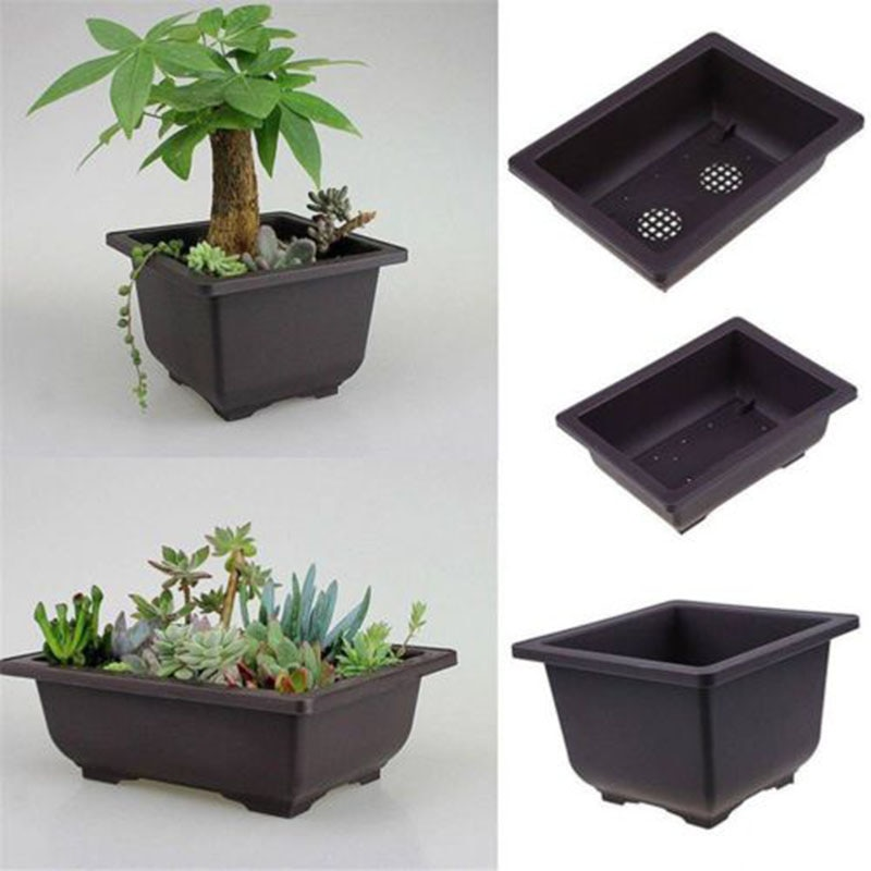 Nordic-style Flowers Bonsai Pots with Tray Plastic Balcony Square/Rectangle Plants Bowl Nursery Pots Balcony Garden Supplies