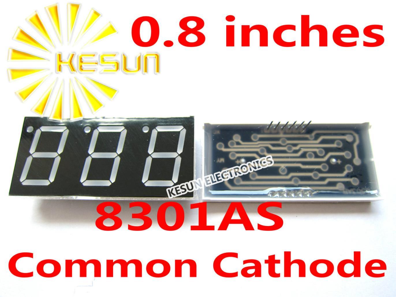 2 pcs x 0.8 polegadas Red Common Cathode/Ânodo 8301AS 8301BS 3 Tubo Digital Módulo de Display LED Contas de Luz