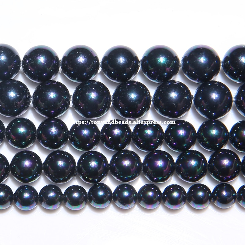 Kostenloser Versand Farbe Überzogen Schwarz Australian Südsee Perle Pulver Runde Lose Perlen 6 8 10 12MM Pick Größe für Schmuck Machen