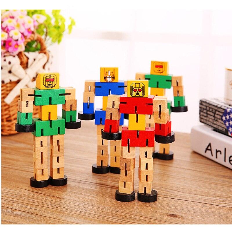 SLPF игрушки для детей многофункциональный деревянный Автобот ручная игра модель Diy образовательная деформация робот строительный блок игрушка A38