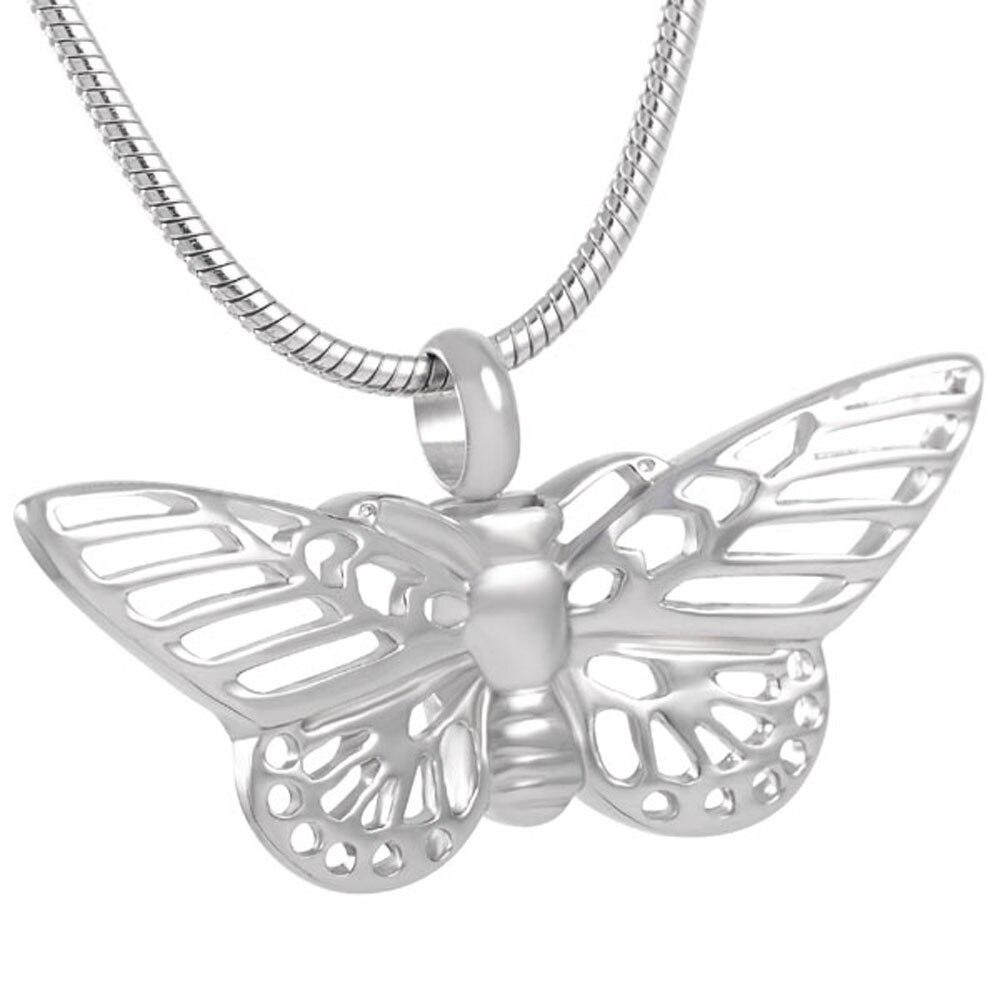 Collar de urna de incineración con forma de mariposa hueca para mascota/ceniza humana colgante de recuerdo de cenizas joyería de monumento de acero inoxidable
